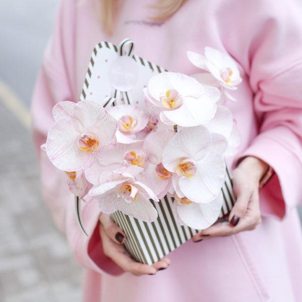 Цветочная композиция с орхидеей фаленопсис в конверте